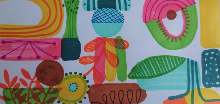 Mein zweites Bild, dass ich im Krankenhaus gemalt habe. Einfach bunt. Mit Filzstiften geht das auch im Bett ganz wunderbar.